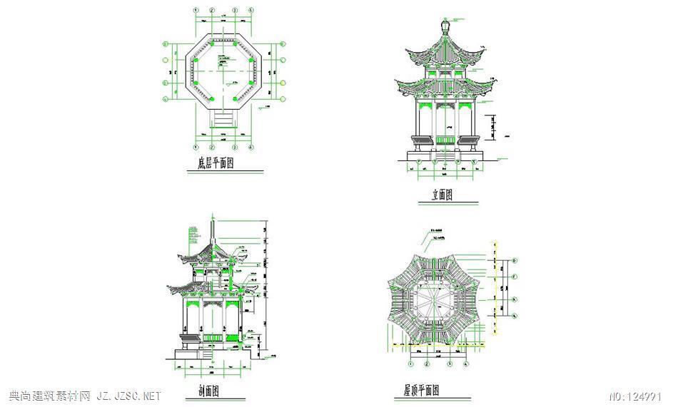 古代八角亭建筑设计cad施工图