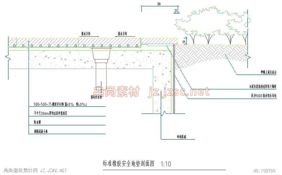 (3)标准橡胶安全地垫剖面图 典尚建筑素材网